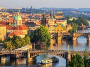 Czech - Prague - Aerial view of the bridges
